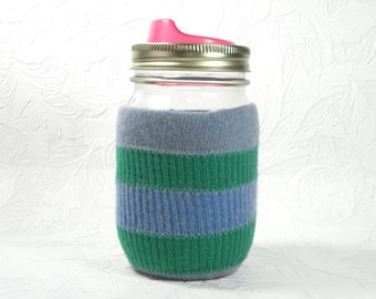 Jar Cozy - pint size -stripes - blue green