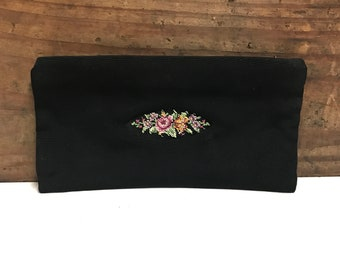 Vintage Black Fabric Clutch with Floral Embroidery, Metal Zipper, Pink Satin Lining, Wedding Clutch, Vintage Black Clutch, Black Evening Bag