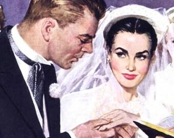 """FUNNY PULP ILLUSTRATION Wedding card. """"Let the games begin - color"""" vintage, retro wedding congratulations card [814-123]"""