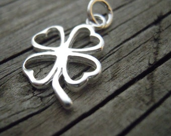 4 sterling silver cut out 4 leaf clover pendants or charms, good luck charms, clover necklace