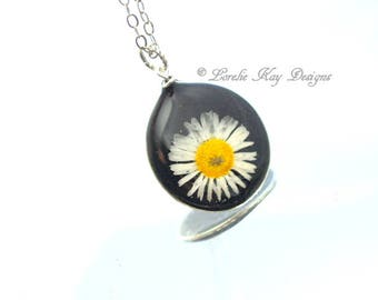 English Daisy Necklace Black  & Yellow Botanical Hoop Pendant Dried Flower In Resin Lorelie Kay Original