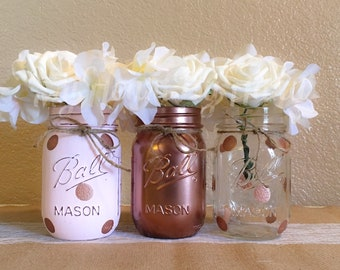Rose Gold Baby Shower Decorations, Rose Gold Wedding Decorations, Girl Baby Shower Decorations, Rose Gold Home Decor, Painted Mason Jars