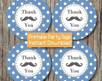 Party Favors Mustache Bash Thank You Tags Baby Shower Birthday Party Printable Favor Tags Little Man DIY Ocean Blue Grey Digital file - 201