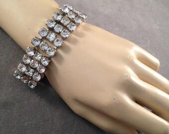 1950s, 1960s Chunky Rhinestone Bracelet, Bridal, Wedding, Holiday
