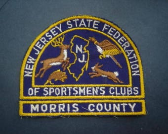 Vintage  New Jersey Federation Of Sportsmen's Club Morris  County New Jersey Hunting Patch