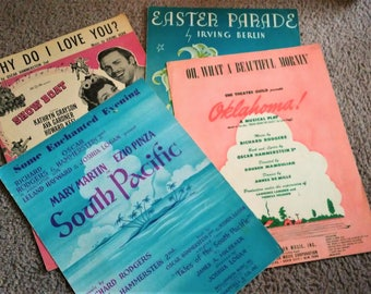 Sheet Music, Oklahoma 1943, Show Boat 1927, South Pacific 1949, Easter Parade 1933, Vintage, Movie Musicals, Ephemera