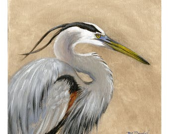 Majestic Beauty- 6 x 6 inch original oil painting of a great blue heron by Martha Dodd