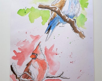 Original watercolor of two snow birds - original painting, wall art, spring painting