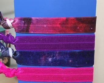 Galaxy No Crease Hair Ties Set of 4 Pink, Purple, Galaxy Pattern FREE SHIPPING
