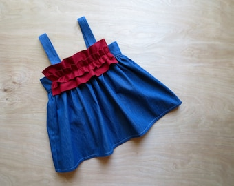 Baby Girl Ruffle Dress, Baby Girl Clothes, Denim Dress, Ruffle dress, Baby Dress, Baby Girl, Denim Baby Dress, Blue Dress, by The Denim Baby