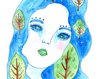 Stars in Your Eyes, Watercolour, Art Print, Ethereal, Nature, Whimsical, Quirky, Surreal, Celestial