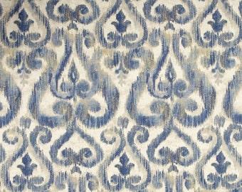 Custom curtains drapery panels Richloom linen blend 50 x 84 108 shades blue natural long curtains Extra ikat drapery long curtains