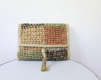 vintage woven purse / vintage clutch / La Encantada clutch