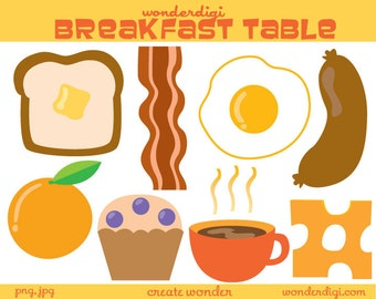 Breakfast Food Clip Art - Food clip art - Breakfast Clipart Set