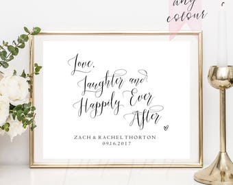 Love, Laughter and Happily Ever After, Wedding sign, printable, fairy tale wedding sign, calligraphy diy bride #PPSB49