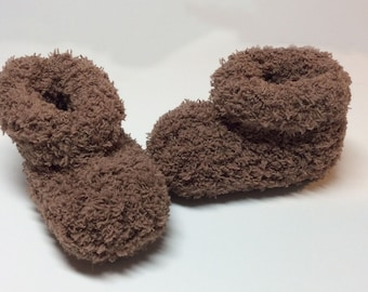 Ultra Soft Hand Knit Baby Booties - Brown