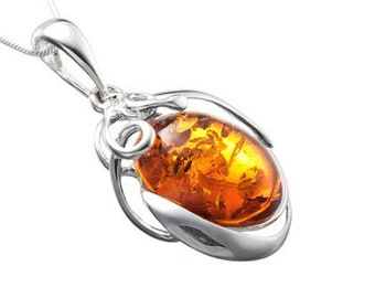 Adult amber necklace-sterling silver ball-amber luxury necklace-----017