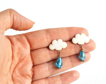 Rain Cloud Earrings, Rain Cloud Jewelry, Cloud and Raindrop, Polymer Clay Jewelry, polymer clay earrings, Clay Jewellery
