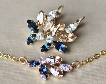 NEW Swarovski Navy Blue Champagne Marquise Navette Earrings & Bracelet,Gold Marquise Jewelry Set,Bridal,Weddings,Lever Back,Cluster Style