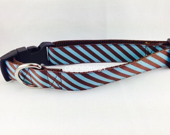 Dog Collar, Blue and Brown Stripe, 1 inch wide, adjustable, quick release, metal buckle, chain, martingale, hybrid, nylon