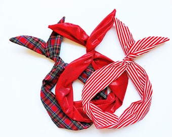 Set of 3 Red Wire Headbands; Metallic, Stripes and Tartan Plaid