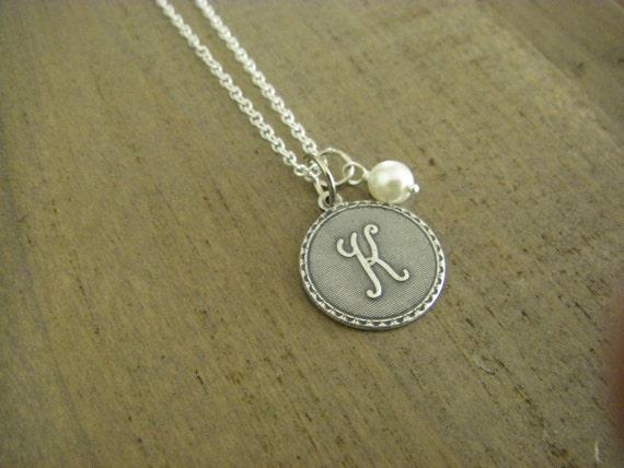 Erste Buchstabe K Sterling Silberkette Silber erste Draht