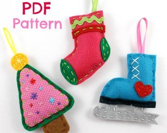 Christmas Ornaments. PDF Pattern. Felt Ornaments. Digital Pattern. Christmas Tree. Stocking. Iceskate. Winter ornaments. Xmas. Holidays.