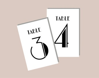 1-40 Printable - Gatsby Black and White - Art Nouveau - Old Hollywood Table Numbers - DIY printable - Instant Download