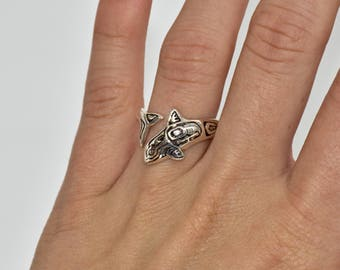Womans Sterling Silver Native Orca Wrap Ring #LIA017