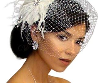 Leslie Li Cecila Style Feather Hair Clip with Bridal Birdcage Veil 21-F31