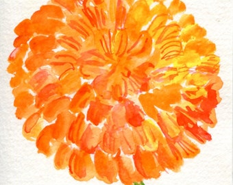 Zinnia Watercolor Painting Original, Orange Flower Painting, Small Floral Wall Art 4 x 6 original watercolor of orange zinnia floral