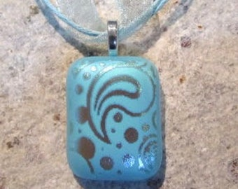 Fused Glass Pendant with Ribbon necklace: Etched Blue Thought Bubble
