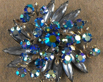 Vintage Blue and Aurora Borealis Rhinestone brooch