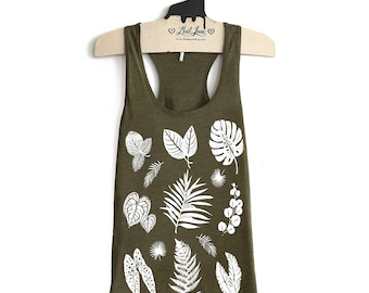 Small -Olive Racer Back Tank with Plant Screen print