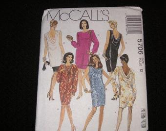 1991 UNCUT McCalls 5706 Dress Pattern in Misses Size 12