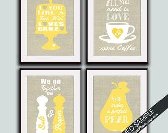 Kitchen Quote Love Prints - Set of 4 - Art Prints (Featured on Lemon Zest on Linen) Funny Kitchen Quotes