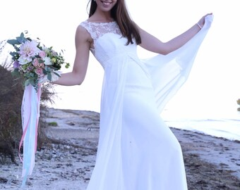 Vintage Inspired Chiffon Wedding Dress with A-Line, Illusion Neckline, Lace Corset, V Back | Romantic Wedding Gown