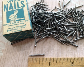 Vintage Cobbler Nails, Wire Clinching Nails, Woodworking, Carpentry Nails, New Old Stock Hardware - In Original Box