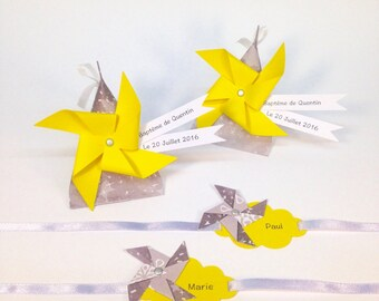 Mark up theme cloud/windmill with Ribbon, customizable! Dimensions: 7 by 4cm paper 210g and 40cm Ribbon