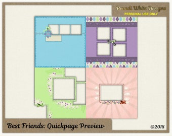 Digital Quickpages - Best Friends - Premade Layouts 12x12