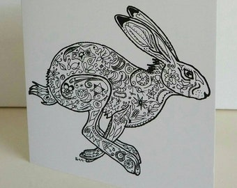 Hare Spring Sprint fine art card from original hare drawing by Bee Skelton. Any occasion birthday gift anniversary thank you