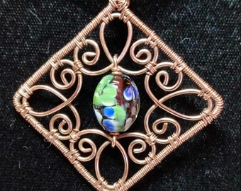 Beautiful Floral Lamplight bead and Copper Pendant