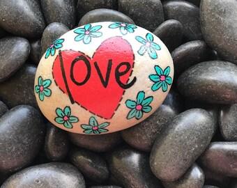 Heart Love Flowers Handpainted Rock