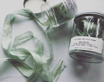 Recycled Sari Silk Ribbon- Pistachio color