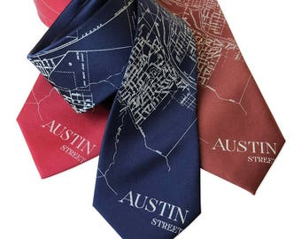 Austin Map Tie, Austin City Map Necktie. UT Austin TX map tie Texas gift SXSW, Texas wedding groomsman gift, 1934 map tie for Austin wedding