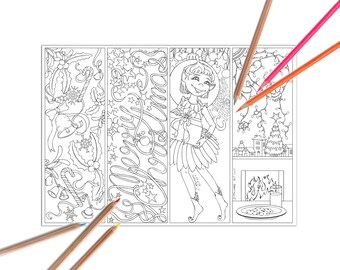 Christmas Bookmarks Coloring Page
