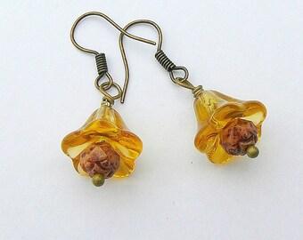 Golden Autumn Flower Earrings