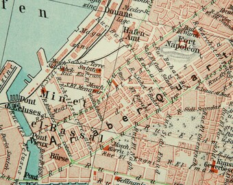 1897 antique city map of alexandria egypt 121 years old town map