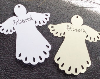 Christmas Angel tags, baby shower tags,  baby gift tags, personalized tags, customized tags, shop tags, birthday tags, 3 x 3 1/2 in.