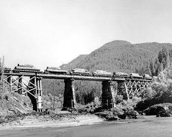 "1949 Log Train Crossing Cowlitz River, WA Vintage Photograph 8.5"" x 11"" Reprint"